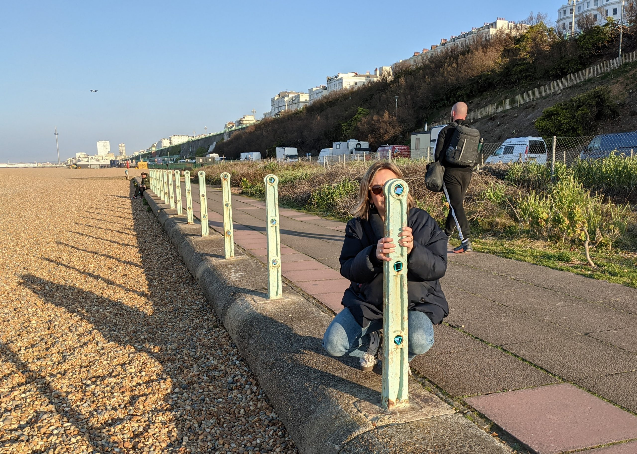 Peeping - image of sculptural installation at Black Rock, Brighton, UK